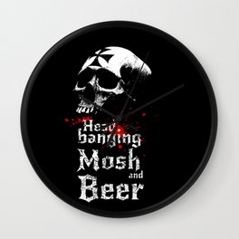 Headbanging-Beer-Skull-Metal-Rock-Music Wall Clock