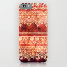 Retro . Vintage lace on a red background . iPhone 6s Slim Case