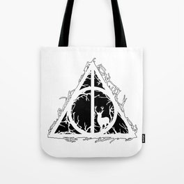 Deathly Hallows - brenches and stag - voids and silhouette (black) - Expecto Patronum | potterheads Tote Bag