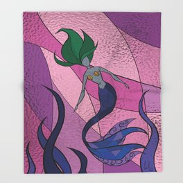 Mermaid Stained Glass (Royal) Throw Blanket