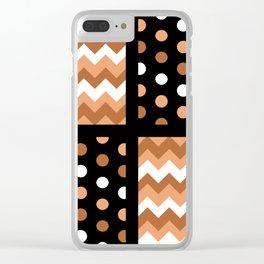 Black/Two-Tone Burnt Orange/White Chevron/Polkadot Clear iPhone Case
