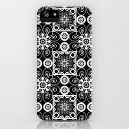 Retro .Vintage . Black and white openwork ornament . iPhone Case