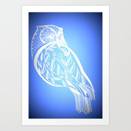 Owl with blue and white patterns Art Print