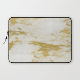 Marble - Shimmery Gold Marble and White Laptop Sleeve