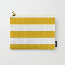 Mustard yellow - solid color - white stripes pattern Carry-All Pouch