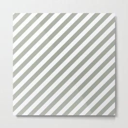 Desert Sage Grey Green Candy Cane Stripes Metal Print