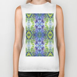 Psycho - Green, White, Purple, Green Abstract Pattern by annmariescreations Biker Tank