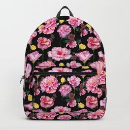 Modern pink green yellow watercolor roses pattern Backpack