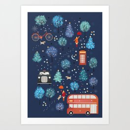 London Christmas Art Print
