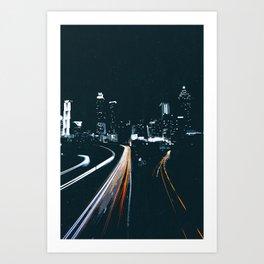 Atlanta Georgie Skyline at Night Art Print