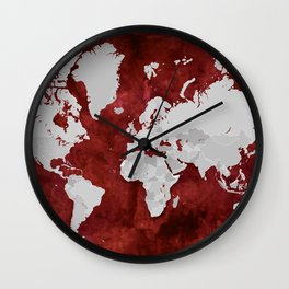 Red watercolor and grey world map with outlined countries Wall Clock