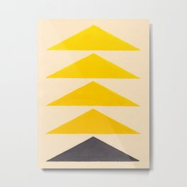Colorful Ombre Yellow Geometric Triangle Pattern Metal Print