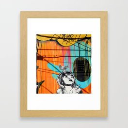 Girl and Pigeon StreetArt Framed Art Print