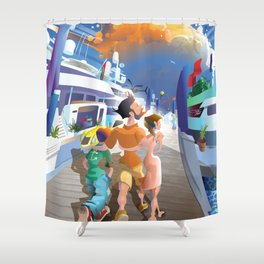 Boat Show Illustration Shower Curtain