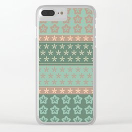 Flowers on stripes shabby chic pattern Clear iPhone Case