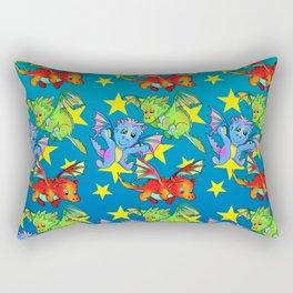 Baby dragons flying among the stars Rectangular Pillow