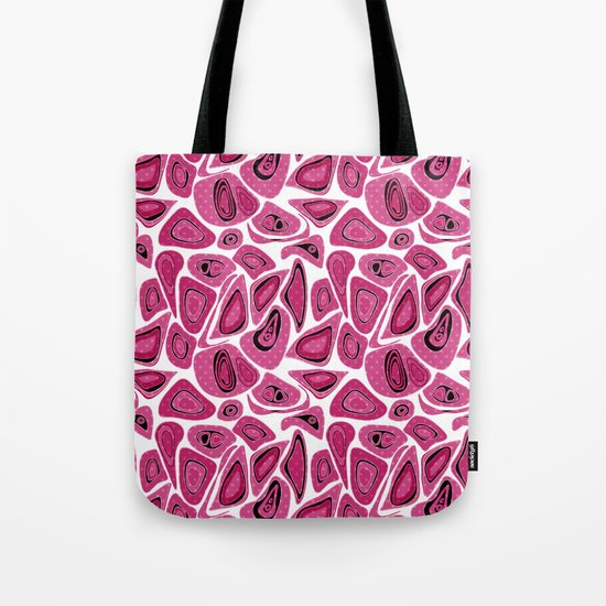 Abstract raspberry black pattern. Tote Bag