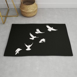 Crows (White) Rug