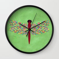 dragonfly Wall Clocks featuring Dragonfly by Artbrightcy