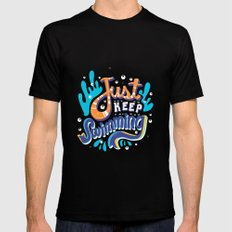 Just Keep Swimming Black Mens Fitted Tee X-LARGE