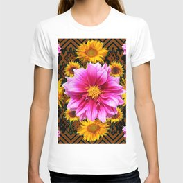Coffee Brown Yellow Sunflowers Purple Dahlias Art T-shirt