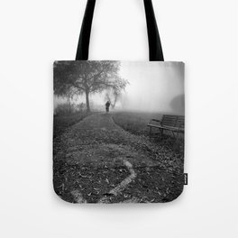 Cyclist in the fog Tote Bag