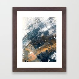 Wander [4]: a vibrant, colorful, abstract in blues, white, and gold Framed Art Print