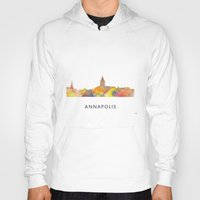 maryland Hoodies featuring Annapolis, Maryland Skyline BG by Marlene Watson