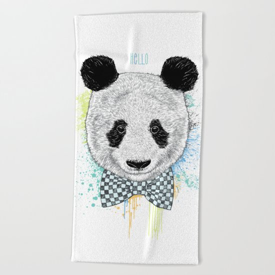 Hello Panda Beach Towel