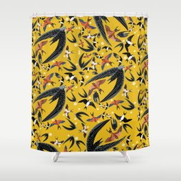 Swallows Martins and Swift pattern Yellow Shower Curtain