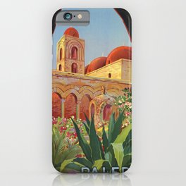 vintage 1920s Palermo Sicily Italian travel ad iPhone Case