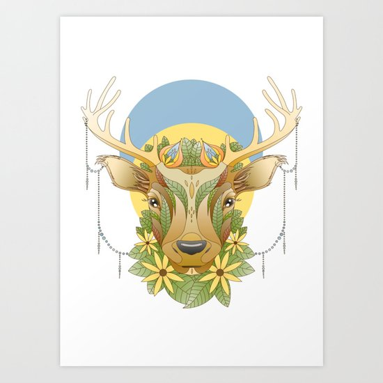 Deer in Flowers Art Print