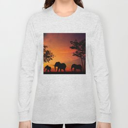 Elephants in the African sunset Long Sleeve T-shirt