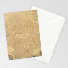 A correct map of the city of Washington  -  capital of the United States of America  -  lat. 38.53 n., long. 0.0, 1 Stationery Cards
