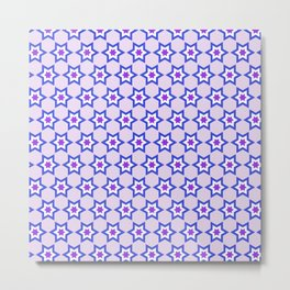 Purple Stars Pattern Digital Art Metal Print