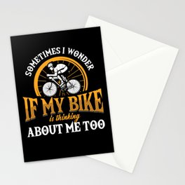 My Bike Is Thinking About Me Too Biker Cyclist Gift Stationery Cards