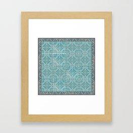 Victorian Turquoise Ceramic Tiles Framed Art Print