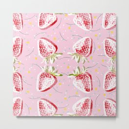 Strawberries Fiesta Pattern Metal Print