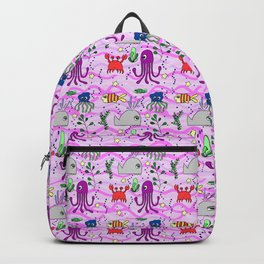 under the sea, pink wave background, ocean, whale,fish,octopus,jellyfish,crab Backpack