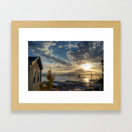 Cabin with a view at Sunrise Framed Art Print