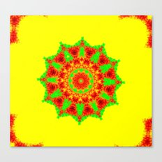 Lovely Healing Mandalas in Brilliant Colors: Red, Yellow, and Green Canvas Print