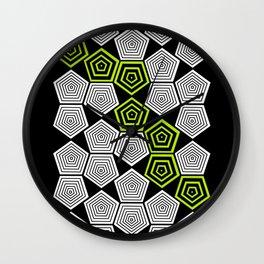 Colour Pop Pentagons - Lime Green Wall Clock