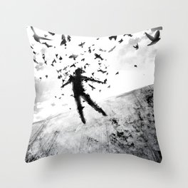 Birds in the head Throw Pillow