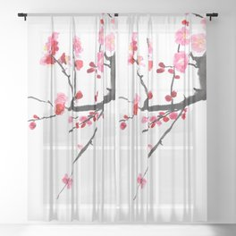 red plum flower in pink background  Sheer Curtain