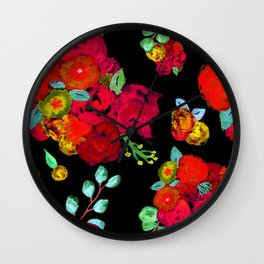 Watercolor Bouquet Floral in Black + Red Wall Clock