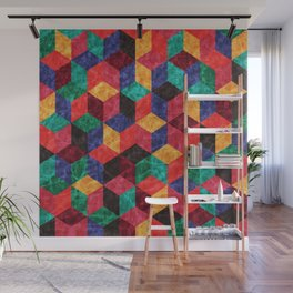 Colorful Isometric Cubes V Wall Mural