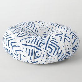 Line Mud Cloth // Ivory & Navy Floor Pillow