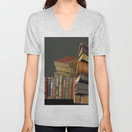 DECORATIVE  ANTIQUE LIBRARY, LEDGERS &  BOOKS ART Unisex V-Neck