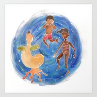Art Print featuring Silly Faces by Kate Solow