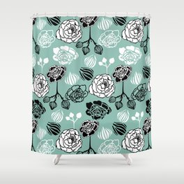 BW Gardenia on Turquoise Shower Curtain